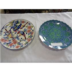 2 HAND PAINTED CHARGER PLATES