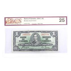 Bank of Canada 1937 One Dollar BCS VF25