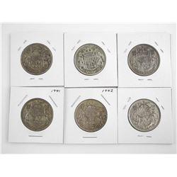Estate Lot (6) Canada Silver 50 Cents. 1940s