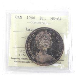 1966 Canada Silver Dollar MS64. ICCS