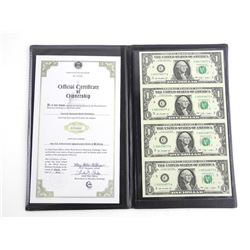 Uncut Sheet USA 1.00 Notes with Folio