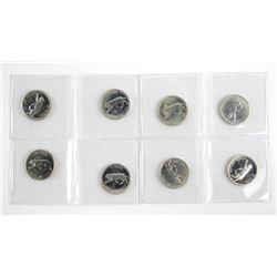 Lot (8) 1867-1967 Specimen 25 Cent