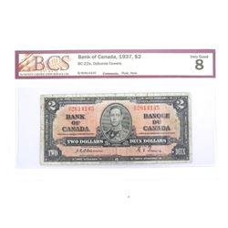 Bank of Canada 1937 Two Dollar Note. VG-8 Osborne-