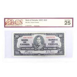 Bank of Canada 1937 Ten Dollar Note. C/T VF25. BCS