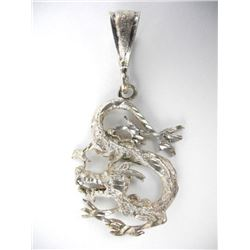Estate 925 Silver Dragon Pendant