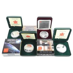 Lot (4) 925 Silver Canada Proof Dollars: 1995, 200