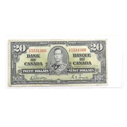Bank of Canada 1937 Twenty Dollar Note. Fine