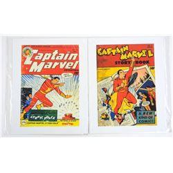 Set (2) DC Comics - Vintage Cover Lithos 'Captain