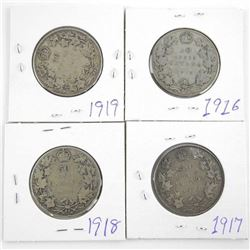 Group of (4) Canada Silver 50 Cent Coins: 1916-191