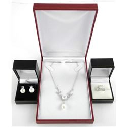 925 Silver Jewellery Set, Pearl, Stud earring, Rin