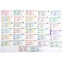 Zimbabwe Note Collection One Cent to 100 Billion D