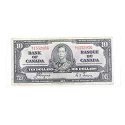 Bank of Canada 1937 Ten Dollar Note. (MT) C/T Fine