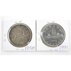 Lot (2) Canada Silver Dollars 1950 and 1951