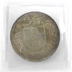 Switzerland 1922B 5 Francs UNC KM#37 CAT USD 275.0