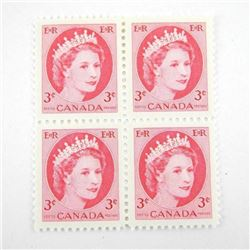 Block (4) CANADA 3 Cent Stamps (339iii) *NH (SXR)