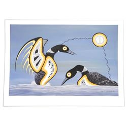 Barry Peters- Giclee 'Mating Display- Loons' Origi