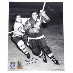 """Ted Lindsay - H.H.O.F. 66"""" 8x10 Vintage Photo Sig"""