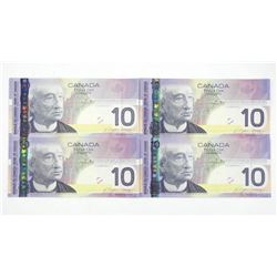 Lot (4) 2005 Bank of Canada Ten Dollar Note. Choic