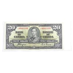 Bank of Canada 1937 Twenty Dollar Note. (VF)