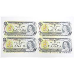 Bank of Canada Lot (4) 1973 1.00 Crisp in Sequence