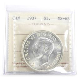 Canada 1937 Silver Dollar MS63. ICCS.