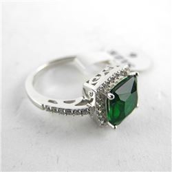 925 Silver Custom Ring Emerald Green, Cushion Cut
