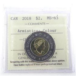 2018 $2.00 Coin 'Armistice' MS63. ICCS