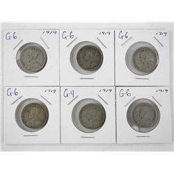 Lot (6) 1919 Canada Silver 25 Cent