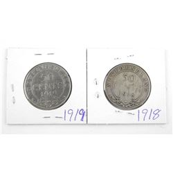 Lot (2) NFLD Silver 50 Cent 1918-1919