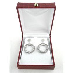 925 Silver Custom Circle of Life Earring Baguette