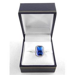 925 Silver Ring Size 6, Sapphire blue Swarovski El