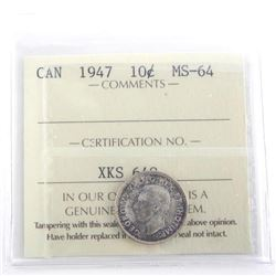 Canada 1947 Silver 10 Cent MS64. ICCS