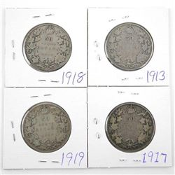 Group of (4) Canada Silver 50 Cent: 1913, 1917, 19