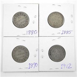 Lot (4) NFLD Silver 20 cent: 1885, 1880, 1890, 191
