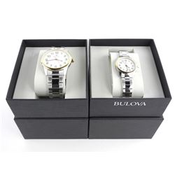 BULOVA His and Hers Watch Set NEW - Two Tone, 480.