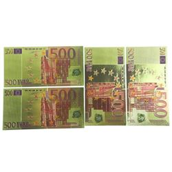 Lot (4) 24kt Gold Leaf 500 Euro Collector Note