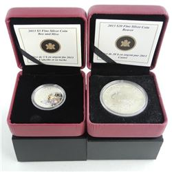 Lot (2) .999 Fine Silver $20.00 and $3.00 Coins 'B