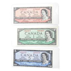 Lot (3) Bank of Canada One, Two, Five Dollar Note