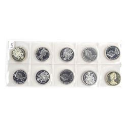 Group of (10) Canada Silver 50 Cent
