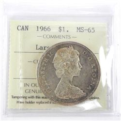 1966 Canada Silver Dollar MS-65. ICCS. Large Beads