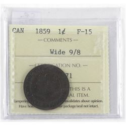 1859 Canada One Cent F-15 Wide 9/8 (GE)