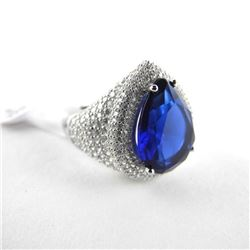 925 Silver Custom Ring Pear Cut Sapphire blue Swar