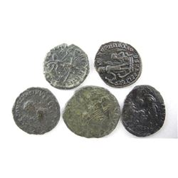 Estate Lot (5) Roman Bronze Coins - 337-361 AD Con
