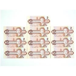 Lot (10) Bank of Canada 1986 Two Dollar Note Choic