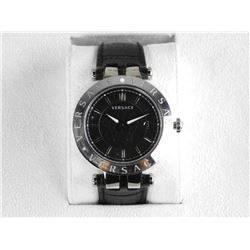 VERSACE Men's Watch Black dial/Date, Leather Band