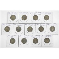 Grouping (13) Canada Silver 25 Cent