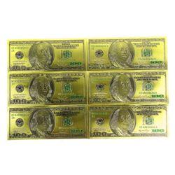 Lot (6) 24kt Gold Leaf USA $100.00 Collector Notes