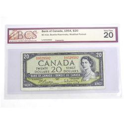 Bank of Canada 1954 Twenty Dollar Note. VF20. BCS