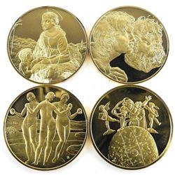 Grouping of (4) Artistic Medals 24kt Gold Plated/9