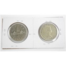 Pair of Canada 1953 Silver Dollars NSS and SS